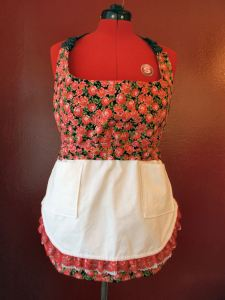 red rose apron with white